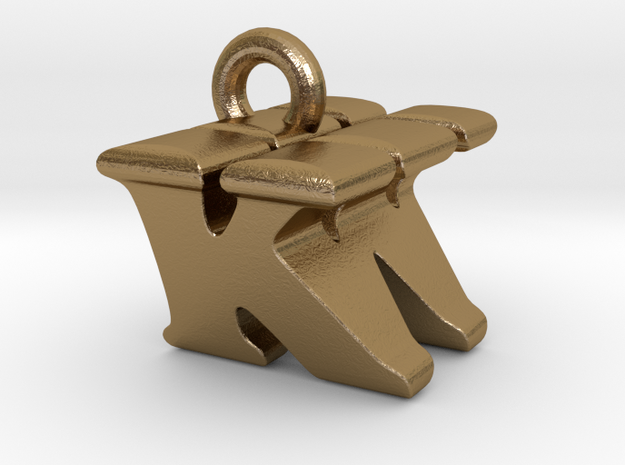 3D Monogram Pendant - KWF1 in Polished Gold Steel