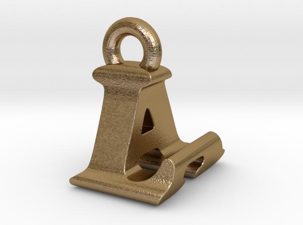 3D Monogram Pendant - LAF1 in Polished Gold Steel