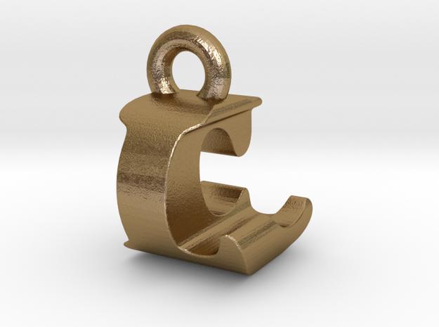 3D Monogram Pendant - LCF1 in Polished Gold Steel