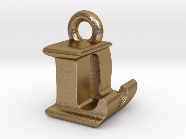 3D Monogram Pendant - LDF1 in Polished Gold Steel