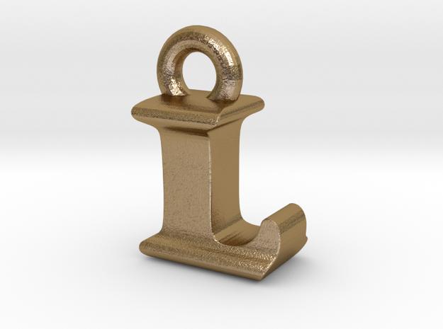 3D Monogram Pendant - LIF1 in Polished Gold Steel