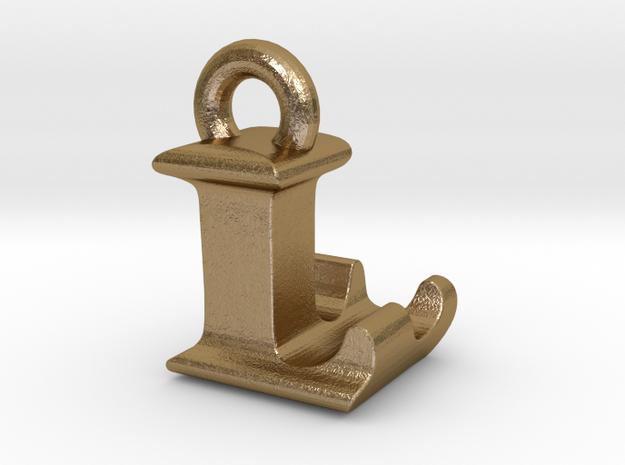 3D Monogram Pendant - LLF1 in Polished Gold Steel