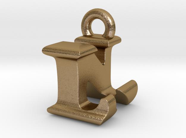 3D Monogram Pendant - LNF1 in Polished Gold Steel