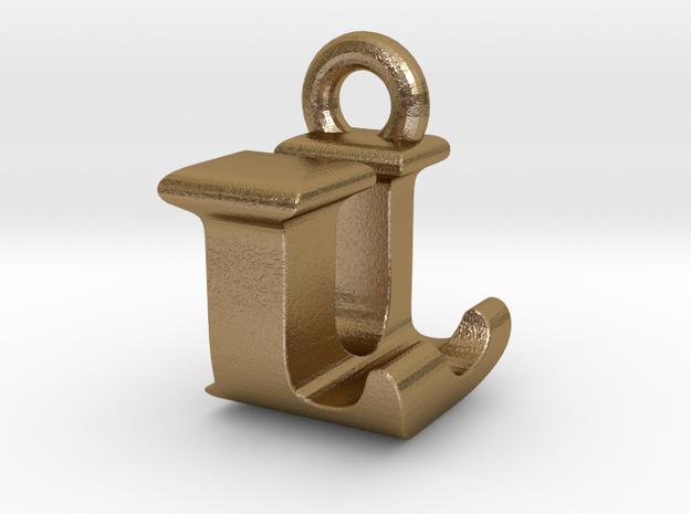 3D Monogram Pendant - LUF1 in Polished Gold Steel