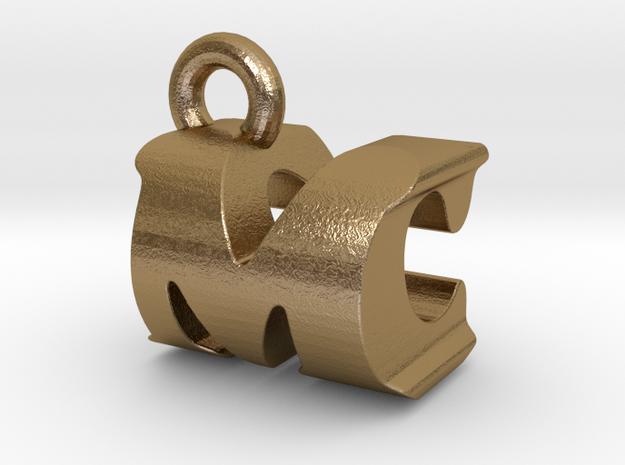 3D Monogram Pendant - MCF1 in Polished Gold Steel