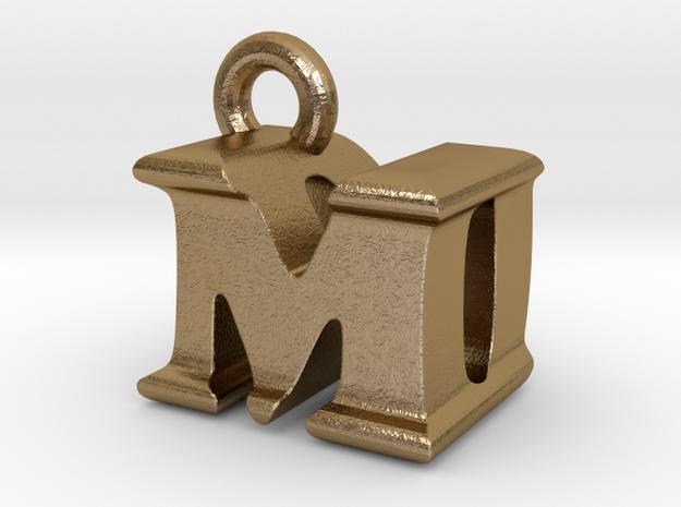 3D Monogram Pendant - MDF1 in Polished Gold Steel