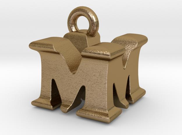 3D Monogram Pendant - MMF1 in Polished Gold Steel