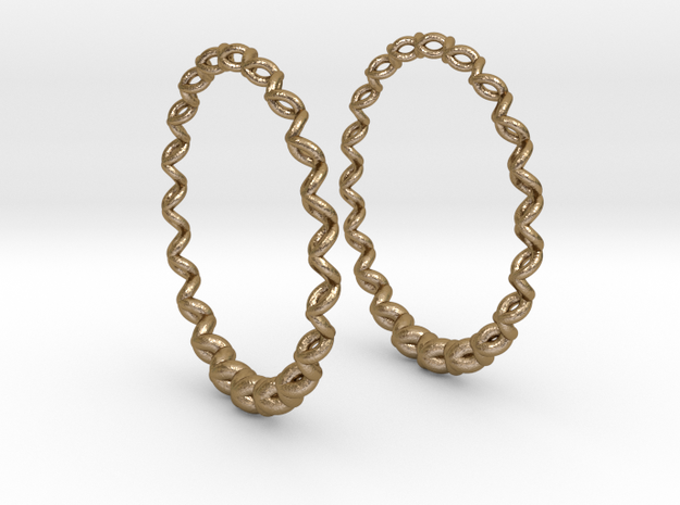 Knitted Hoop Earrings 60mm in Polished Gold Steel
