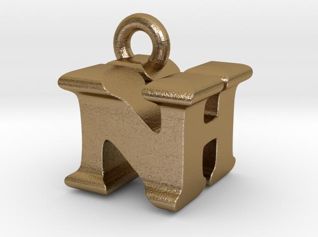 3D Monogram Pendant - NHF1 in Polished Gold Steel