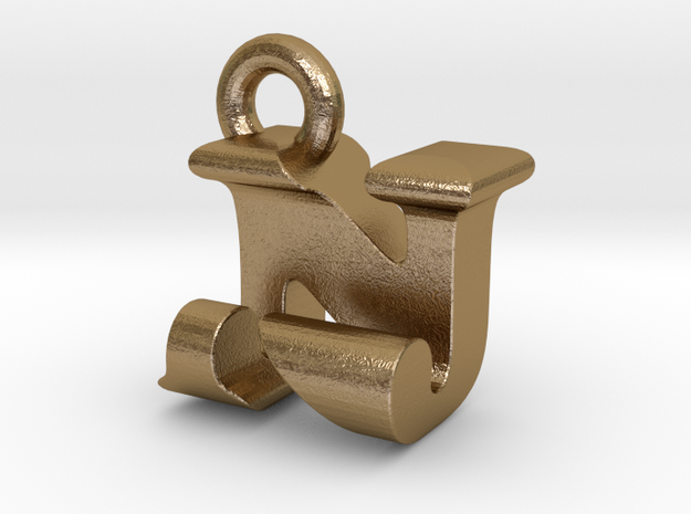3D Monogram Pendant - NJF1 in Polished Gold Steel