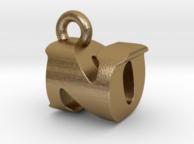 3D Monogram Pendant - NOF1 in Polished Gold Steel