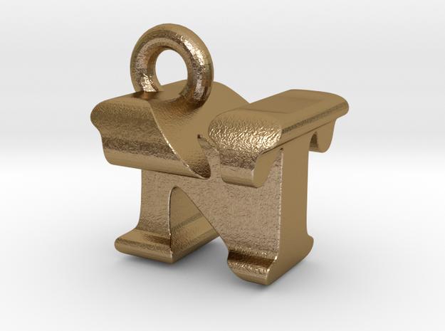3D Monogram Pendant - NTF1 in Polished Gold Steel