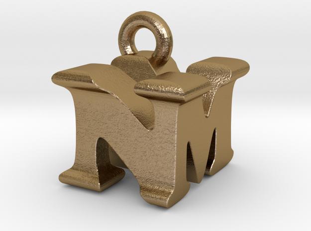 3D Monogram Pendant - NMF1 in Polished Gold Steel