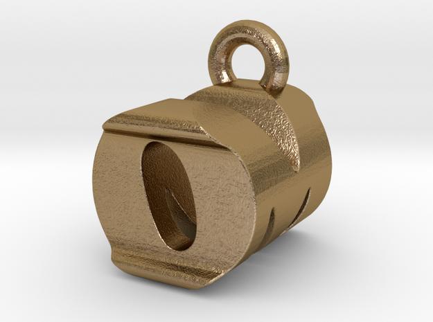 3D Monogram Pendant - OMF1 in Polished Gold Steel