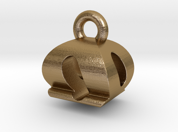 3D Monogram Pendant - OQF1 in Polished Gold Steel