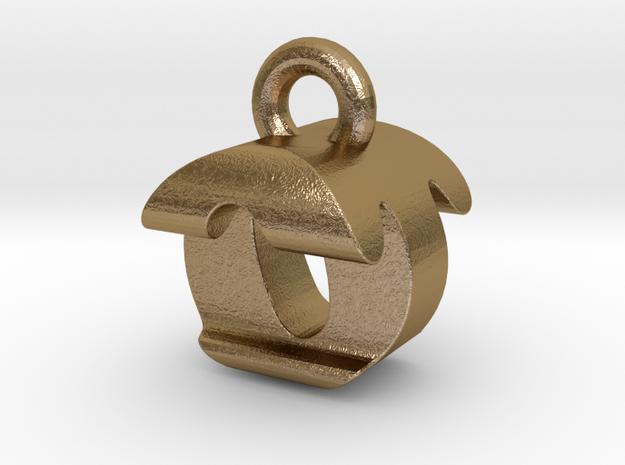 3D Monogram Pendant - OTF1 in Polished Gold Steel
