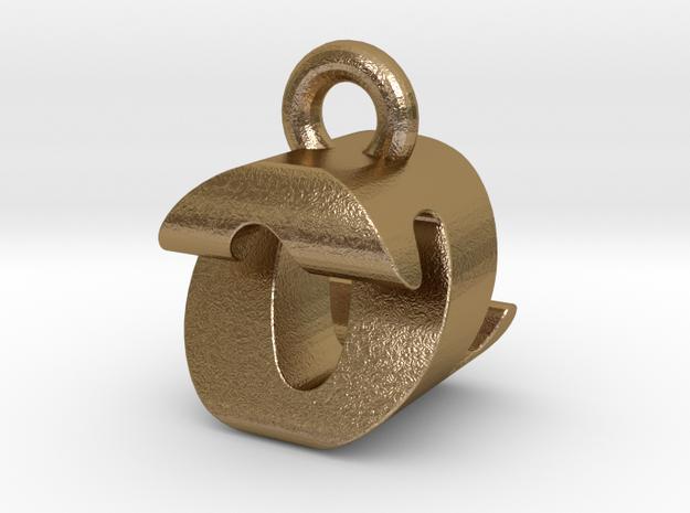 3D Monogram Pendant - OZF1 in Polished Gold Steel