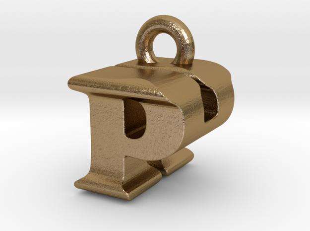3D Monogram Pendant - PHF1 in Polished Gold Steel