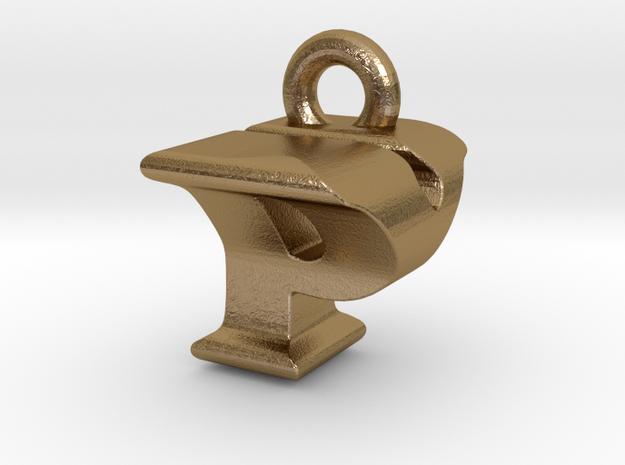 3D Monogram Pendant - PYF1 in Polished Gold Steel