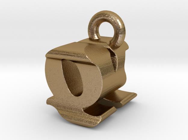 3D Monogram - QKF1 in Polished Gold Steel