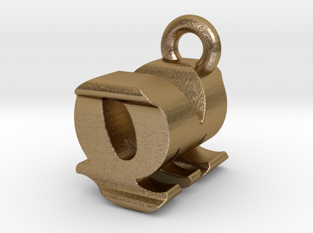 3D Monogram - QMF1 in Polished Gold Steel
