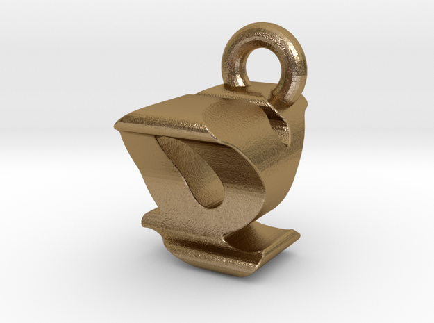 3D Monogram - QYF1 in Polished Gold Steel