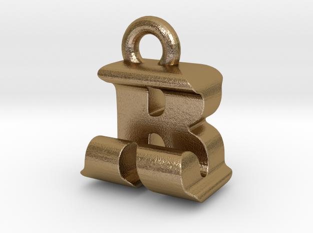 3D Monogram - RJF1 in Polished Gold Steel