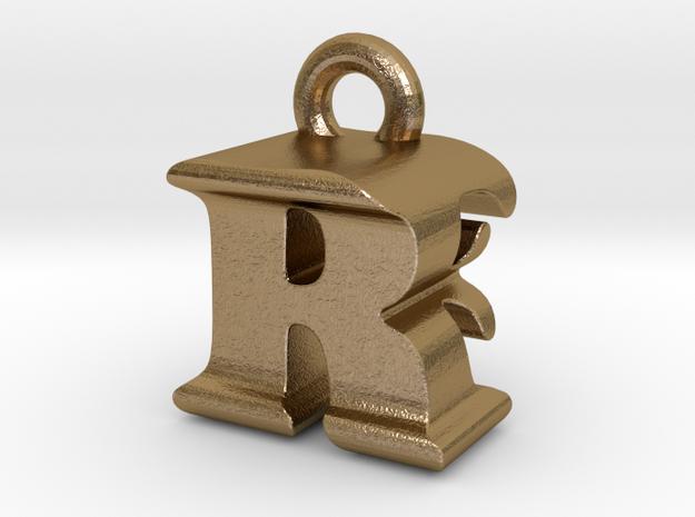 3D Monogram - RFF1 in Polished Gold Steel