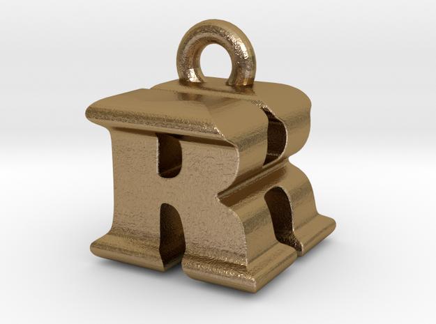 3D Monogram - RHF1 in Polished Gold Steel