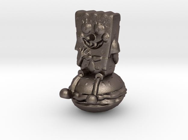 Spongebob on hamburger 2 in Polished Bronzed Silver Steel