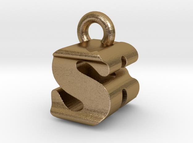3D Monogram - SRF1 in Polished Gold Steel