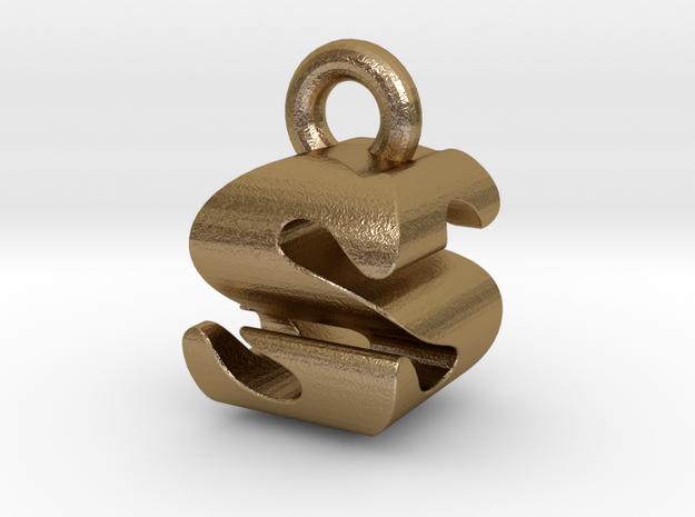 3D Monogram - SSF1 in Polished Gold Steel