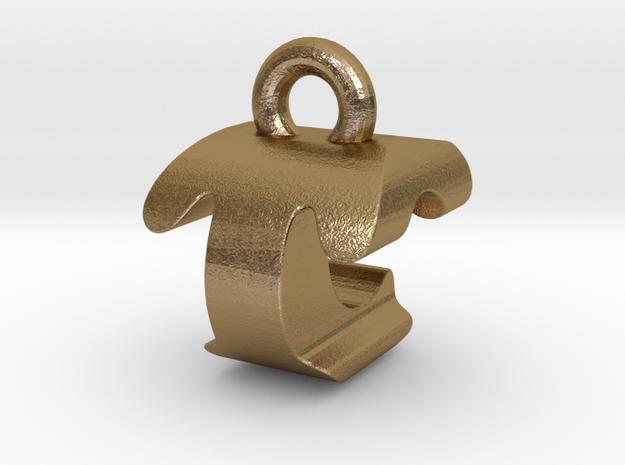 3D Monogram - TCF1 in Polished Gold Steel