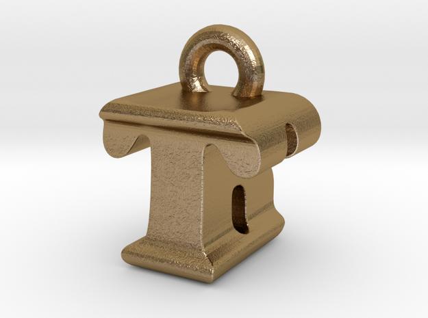 3D Monogram - TBF1 in Polished Gold Steel