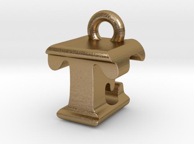 3D Monogram - TEF1 in Polished Gold Steel