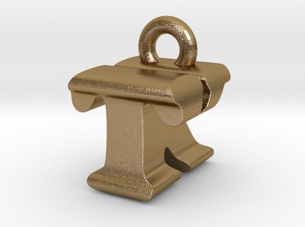 3D Monogram - TKF1 in Polished Gold Steel
