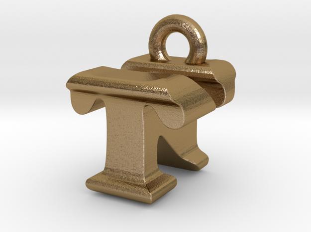 3D Monogram - TNF1 in Polished Gold Steel