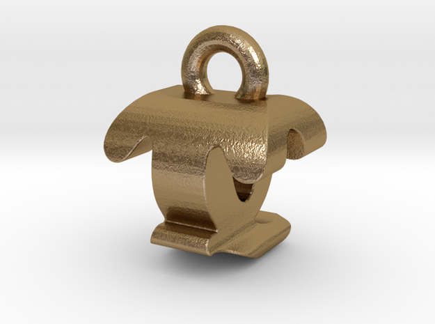 3D Monogram - TQF1 in Polished Gold Steel