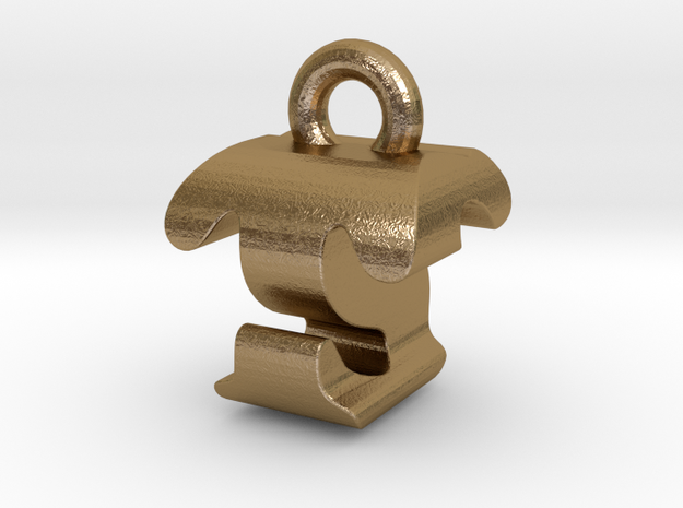 3D Monogram - TSF1 in Polished Gold Steel