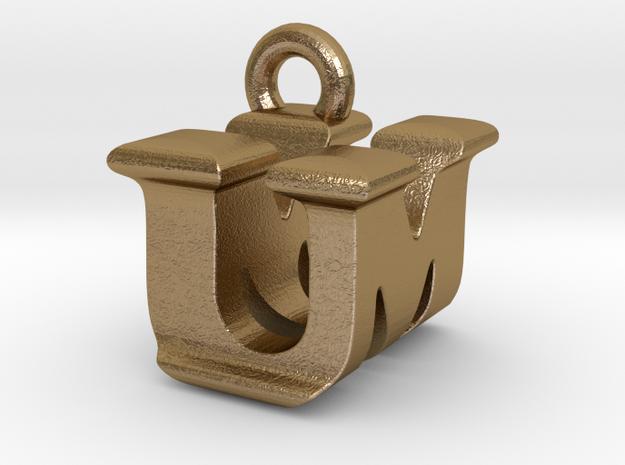 3D Monogram - UMF1 in Polished Gold Steel
