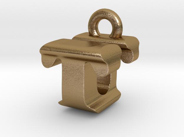 3D Monogram - TUF1 in Polished Gold Steel