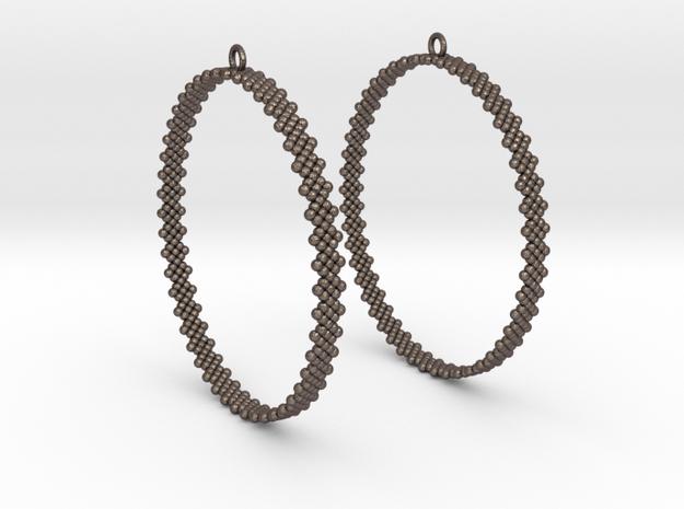 Pearl Hoop Earrings 60mm in Polished Bronzed Silver Steel