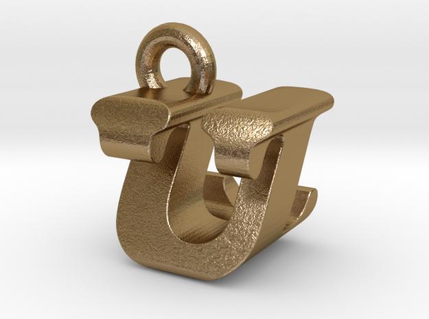 3D Monogram - UZF1 in Polished Gold Steel