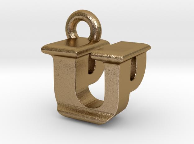 3D Monogram - UPF1 in Polished Gold Steel