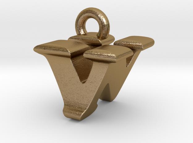 3D Monogram - VNF1 in Polished Gold Steel