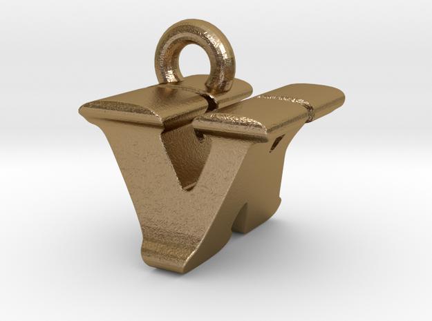3D Monogram - VKF1 in Polished Gold Steel