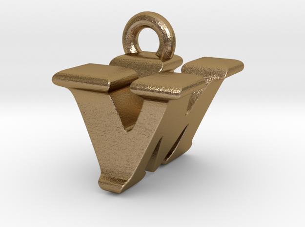 3D Monogram - VMF1 in Polished Gold Steel