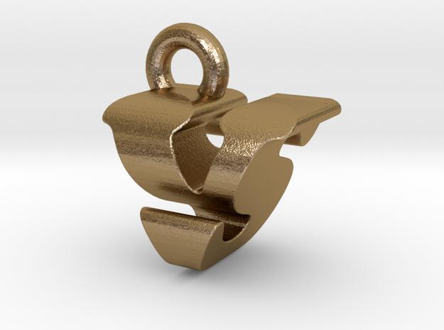 3D Monogram - VSF1 in Polished Gold Steel