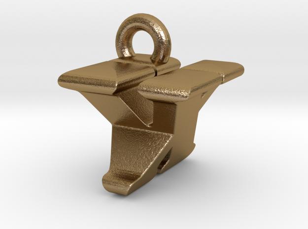 3D Monogram - VXF1 in Polished Gold Steel