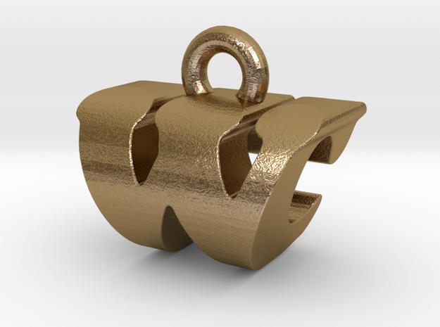 3D Monogram - WCF1 in Polished Gold Steel